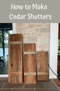 How to Make Cedar Shutters Want to make cedar shutters or build shutters from another type of wood? The exterior of our house was originally. Farmhouse Shutters, Rustic Shutters, Diy Shutters, Exterior Wood Shutters, Exterior Siding, Craftsman Exterior, House Paint Exterior, Exterior Design, Ranch Exterior