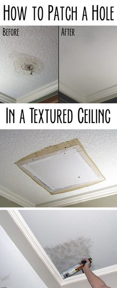 Any home owner can and should learn how to patch a hole successfully. Popcorn ceiling or knock-down texture, doesn't matter. The process is basically the same and requires few tools and some patience. DIY process with step by step pictures here: http://www.ehow.com/how_7809461_patch-hole-textured-ceiling.html?utm_source=pinterest.com&utm_medium=referral&utm_content=inline&utm_campaign=fanpage