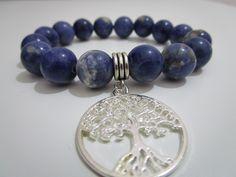 Sodalita,Pulsera de Sodalita piedras semipreciosas con colgante Arbol de la…