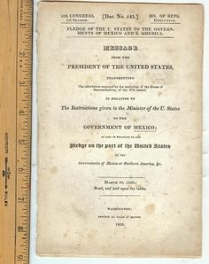 1826 President John Q. Adams on Pledge to Mexico No Copies Found Rare Item!
