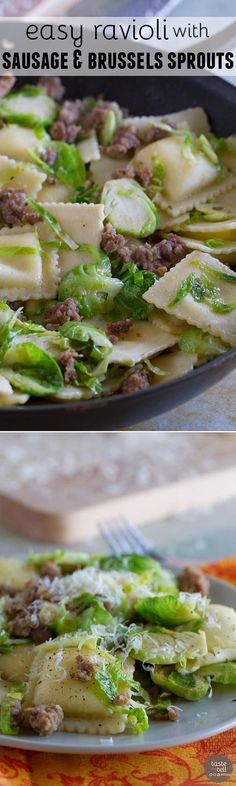 Looking for an easy, fast, dinner with less than 10 ingredients? This Easy Ravioli with Sausage and Brussels Sprouts comes together in well under 30 minutes and is delicious and filling.:
