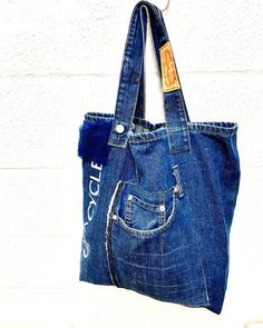 120591824 Denim Tote Bags, Large Bags, Refashion, Upcycle, London, Sustainable Living, Studio, Jeans, Casual