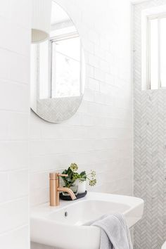 White bathrooms 483574078741725001 - How to Remodel Your Bathroom: Bright white contemporary bathroom with tiles and round mirror Steam Showers Bathroom, Laundry In Bathroom, White Bathroom Tiles, White Bathrooms, Ensuite Bathrooms, Bathroom Basin, Remodel Bathroom, Small Bathrooms, Living Room Bedroom