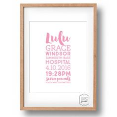Personalised Birth Detail Print  Mixed Font by poppylovestogroove