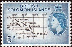 Solomon Island 1956 SG 88 Map Fine Mint SG 88 Scott 95 Other British Commonwealth Stamps here