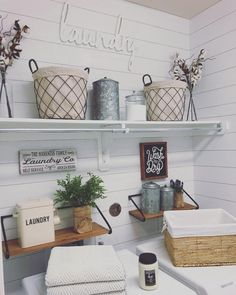 I cannot tell you how GOOD it feels to be finished doing shiplap wallpaper (peel & stick by in this room. Laundry Room Wallpaper, Laundry Room Bathroom, Laundry Room Design, Peel And Stick Shiplap, Peel And Stick Tile, Shiplap Wall Paper, Rustic Laundry Rooms, White Subway Tile Backsplash, Laundry Room Inspiration