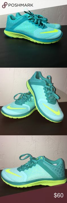 Nike FS lite run 3 Aqua blue and lime green running shoes. NEW IN BOX Nike Shoes Sneakers