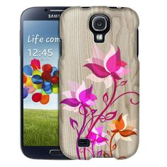 Samsung Galaxy S4 Bright Painted Flowers on Wood Trans Case