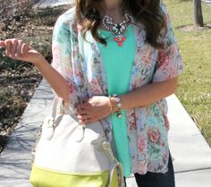 Kiss Me Darling Floral kimono, spring outfit, Paige denim, Pink heels, Pink pumps, mint blouse, color blocked purse, Easter outfit