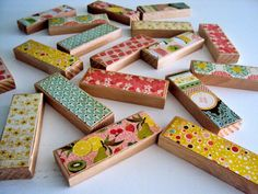 """Memory Game - Recycled (hard) wood, decoupaged paper, non-toxic and kid-friendly sealer.  18 blocks (9 patterns), approximately 3"""" x 1"""""""