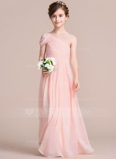 A-Line/Princess One-Shoulder Floor-Length Ruffle Zipper Up at Side Spaghetti Straps Sleeveless No Pearl Pink General Chiffon Junior Bridesmaid Dress