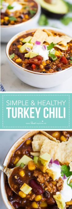 Healthy turkey chili - This easy recipe is hearty and delicious with plenty of flavor! Can easily be made in the slow cooker as well. Nothing beats a bowl of turkey chili on a cold fall or winter day! Chili Recipes, Gourmet Recipes, Crockpot Recipes, Soup Recipes, Dinner Recipes, Cooking Recipes, Healthy Recipes, Cooking Chili, Dinner Ideas
