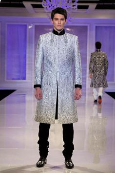 Manav Gangwani blends traditional and trendy, with black and white embroidery on this sherwani.