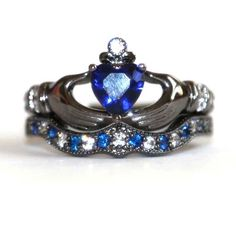 925 Sterling Silver Engagement / Wedding Bridal Ring Set With Dark Blue CZ Inlaid - USD $129.95