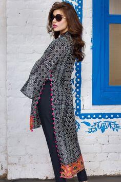 Khaadi 2 Piece Stitched Printed Lawn Suit - J17206 - Black - libasco.com #khaadi #khaadionline #khadiclothes #khaadi2017 #kaadisummer