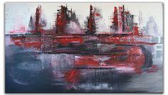 Rote Stadt - #Abstrakte #Malerei rot grau XXL, abstraktes #Wandbild querformat