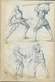 The 16th century manuscript, listed simply as: 'Fechtbuch: Libr. pict. A 83' is hosted by the State Library of Berlin. This fencing manuscript, made from paper*, was produced in the early 1500s in the Bavarian city of Nuremberg. There is next to no online commentary and the work consists of about 140 pages, featuring ink and watercolour/ink-wash illustrations. (I wonder what the one on the left is offering?)