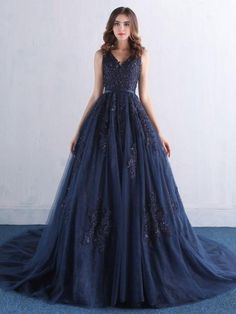 Hot Sale Luxurious Prom Dresses Lace, Prom Dresses A-Line, Prom Dresses Blue, Navy Prom Dresses Dark Blue Bridesmaid Dresses, Navy Prom Dresses, Dresses Elegant, Blue Evening Dresses, Long Evening Gowns, Tulle Prom Dress, Quinceanera Dresses, Sexy Dresses, Lace Dress