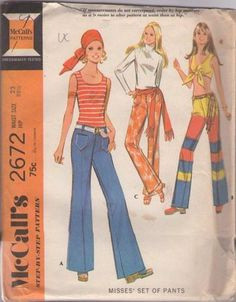 MOMSPatterns Vintage Sewing Patterns - McCall's 2672 Vintage 70's Sewing Pattern GROOVY Hippie Fly or Button Fly Hip Hugger Bell Bottoms Jeans, Pants, Crushed Velvet or Border Stripes!