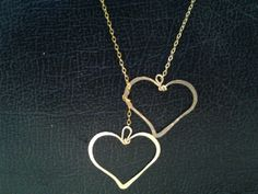 2 Heart Lariat necklace  Heart Necklace two  by MiritLevinJewelry, $53.00