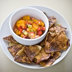 Fruit salsa and cinnamon chips- the perfect dish to celebrate warmer weather and long evenings. Gluten free and delicious! Recipe included.