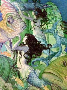 Detail of Charles Santore's The Little Mermaid illustration, written by Hans Christian Andersen Mermaid Fairy, Mermaid Tale, Fantasy Mermaids, Mermaids And Mermen, Mermaid Illustration, Illustration Art, Mermaid Artwork, Psy Art, Vintage Mermaid