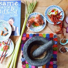"""""""On the wooden table with our favourite masterchef, making satay sauce from scratch. This was the other flatlay that we prepared last week. #masterchef #sataysauce #pohskitchen #asianrecipe #motarandpestle #enamelplate #asianspices #foodflatlay #feltpottrivet #taratreasures"""" Photo taken by @tara_treasures on Instagram, pinned via the InstaPin iOS App! http://www.instapinapp.com (08/10/2015)"""