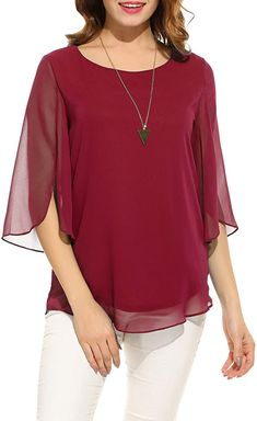 Red Blouses, Shirt Blouses, Fashion Blouses, Chiffon Shirt, Chiffon Tops, Moda Casual, Women's Casual, Outfit Jeans, Loose Tops