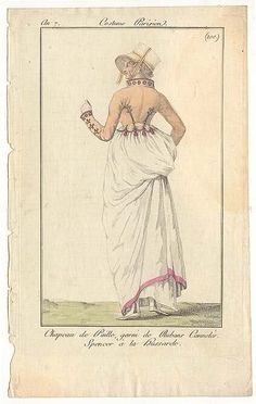 Journal des Dames et des Modes, 1798.  Cute little bonnet, and I love the detailing on her jacket! Look at those cuffs and that collar!