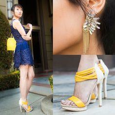 Sheinside Navy Lace Dress, Olivia + Joy Yellow Bag, Chicnova Peacock Earrings, Justfab Yellow Sandals
