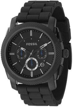 Fossil Machine Silicone-Strap Black-Dial Chronograph Watch