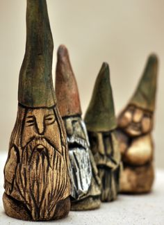 Ceramic Garden Gnomes. Taper top of walking stick, paint gnome face, shellac