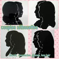 More couples silhouettes with glasses, beards, mustaches