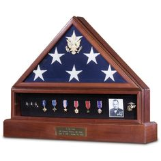 Presidential Wood American Flag Display Case Complete Combination Set Medal Photo Shadowbox Pedestal Cremation Urn Free Shipping Engraving American made USA