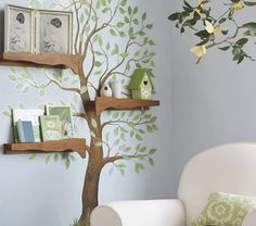 Farb- und Wandgestaltung im Kinderzimmer - 77 tolle Ideen wall design child's room wall color blue-gray sticker tree déco Nursery Design, Wall Design, Design Design, Nursery Themes, Nursery Decor, Nursery Ideas, Nursery Tree Mural, Bedroom Ideas, Mural Wall