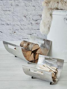 Cast Aluminium Log Holder Set #nordichouse #aluminium #fireside
