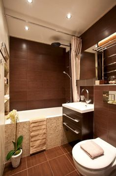 Little bathroom ideas to maximize your tiny space. Although with a small dimension we will certainly produce an ambience that feels larger than it truly is. Here's the idea of maximizing a little. House Design, House, Bathroom Shower Tile, House Styles, Home Decor, Bathroom Interior, Industrial Bathroom Decor, Brown Bathroom, Bathroom Design Small