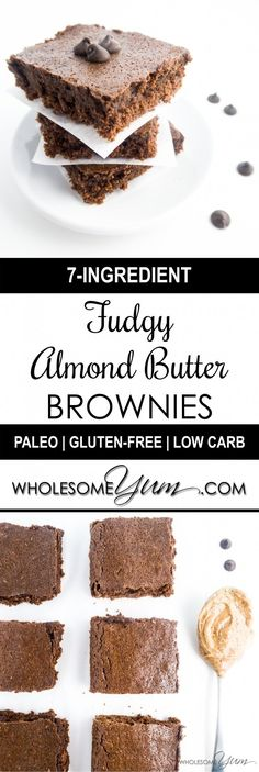 Fudgy Almond Butter Brownies (Paleo, Low Carb) - Sweeten with raw honey instead of Erythritol! Sugar Free Desserts, Sugar Free Recipes, Almond Recipes, Gluten Free Desserts, Low Carb Sweets, Low Carb Desserts, Low Carb Recipes, Real Food Recipes, Healthy Recipes