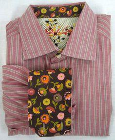 Robert Graham Shirt Red Striped Flip Cuff Floral Signature Size 2XL Men's