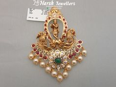 Krishna pendant from Harsh Jewellers Gold Chocker Necklace, Pearl Necklace Designs, Gold Earrings Designs, Antique Jewellery Designs, Gold Jewellery Design, Gold Jewelry Simple, Silver Jewelry, Silver Rings, Gold Pendent