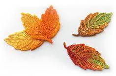 Autumn leaves crochet pattern. Crochet leaf pattern. Crochet