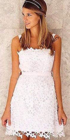 Fashion Solid Color Hollow Out Crochet Sling Lace Dress