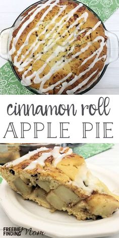 Want an apple pie recipe that is guaranteed to knock the socks off your friends and family? This Homemade Cinnamon Roll Apple Pie is super simple and inexpensive to make and tastes incredibly delicious. It is perfect for the holidays (Thanksgiving and Chr Healthy Apple Desserts, Fun Desserts, Dessert Recipes, Delicious Desserts, Dessert Ideas, Breakfast Recipes, Cinnamon Roll Apple Pie, Cinnamon Rolls, Apple Pie Recipes