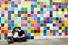 colorful wall engagement session - La Jolla, CA