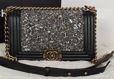 CN0015 Chanel Boy Black Diamond Flap Bag Black Lambskin Leather A67025 Gold Chain