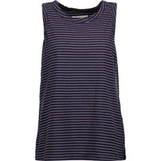 Current/Elliott - The Muscle Striped Cotton-blend Jersey Tank ($43) ❤ liked on Polyvore featuring tops, midnight blue, cowgirl tank tops, america tank top, western tank tops, western tops and cowgirl tops