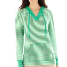 St. John's Bay Green & White Striped Hoodie Casual comfort with fresh styling: this hoodie tunic pullover will keep your weekend fashionably relaxed.  v-neck drawstring hood back neck twill tape trim kangaroo pocket side slits cotton/polyester cotton/polyester/spandex 2x2 ribbed trim. St. John's Bay Tops Sweatshirts & Hoodies