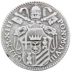 1765 Grosso Papal States Italy Clement XIII Silver Coin