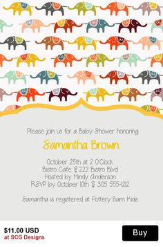 Elephants Baby Shower Invitation-1 Sided
