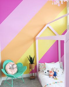 After agonizing over possible color palettes and a design for a feature wall in Millie's bedroom I finally picked one. In return I was told… Striped Walls Bedroom, Pink Striped Walls, Girl Bedroom Walls, Bedroom Wall Colors, Girl Room, Pink Feature Wall, Painted Feature Wall, Feature Wall Living Room, Yellow Kids Rooms